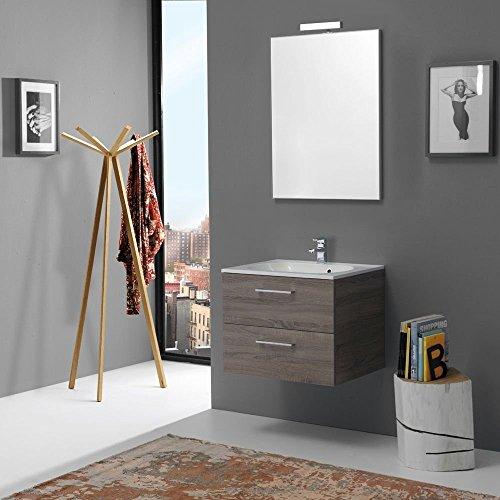 Mobile bagno moderno da 60 cm con cassetti boston in tartufo