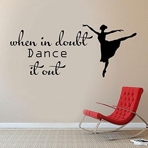 When In Doubt Dance It Out Wall Decal Quote Dance Studio Dancer Dancing Wall Sticker Home Decor Bedroom Art Design Interior  77x44cm