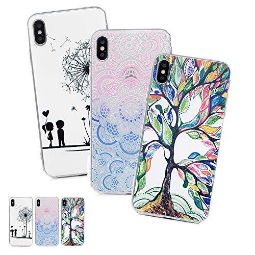 3 X Coques iPhone XS Max 6.5 Pouces LaVibe Étui Gel Silicone TPU Full Protecteur Design Transparant Housse Anti-Rayures Pare-Chocs Bumper Souple Ultra Slim Flexible Soft Case Cover - Toucher