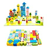 #8: AdiChai 62 Pieces City Building Blocks Along with Ambulance, Fire Truck - Educational Wooden Toy for Kids
