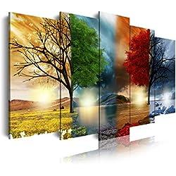 DekoArte 237 - Cuadro moderno en lienzo 5 piezas paisaje de las cuatro estaciones del año, 150x3x80cm