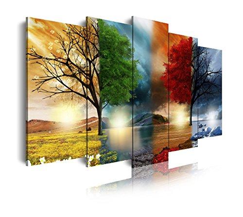 DekoArte Cuadro Moderno de 5 Piezas con Diseño Naturaleza Cuatro Estaciones, Tela, Multicolor, 150x3x80 cm