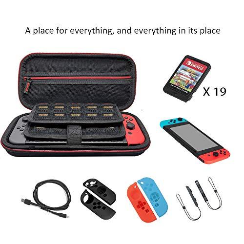 Funda para Nintendo Switch, Case de protección para Nintendo Switch,  Bolsa Transporte Ligera Case con más Espacio de almacenamiento para 19 Juegos,  Oficial adaptador de AC y accesorios Nintendo Switch