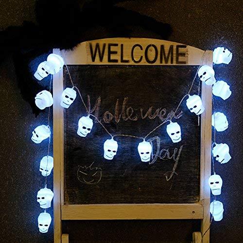 ARTSTORE Guirnalda de Luces LED, Guirnalda de Cadena de iluminación LED Funciona con Pilas para Navidad casa Fiesta Dormitorio para decoración de Halloween, Calavera, 2Meter 20LEDs