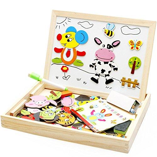 zhomgo Multifunktionale Magnetische Zeichenbrett aus Holz mit Spiele mit Tablett-perfekte Educational und kreative Spiel Geschenk für Kinder Jungen Mädchen 3Jahren-Cute Animal Puzzle