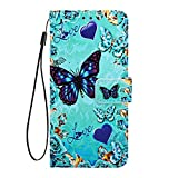 Phcases Shockproof PU Leather Flip Wallet Case with Magnetic Closure Stand Card Holder ID Slot Money Pouch Folio TPU Bumper Protective Skin Phone Cover for Samsung Galaxy A10s-Butterfly.