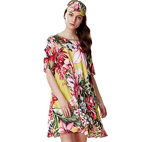 DMMSS Ladies Summer Pajamas Thin Loose Dress Skirt Casual Wear Can Be Outside The Night Dress Home Service , 1 , 170 (Xl)
