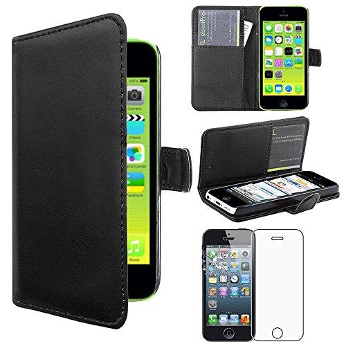 ebestStar - kompatibel iPhone 5C Hülle Kunstleder Wallet Case Handyhülle [PU Leder], Kartenfächern, Standfunktion, Schwarz + Panzerglas Schutzfolie [iPhone: 124.4 x 59.2 x 9mm, 4.0''] (Wallet 5c Case)
