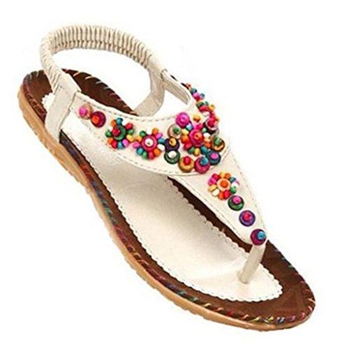 Fortuning's JDS Le donne estate perline bohemien T-Strap infradito sandali piatti Bianco