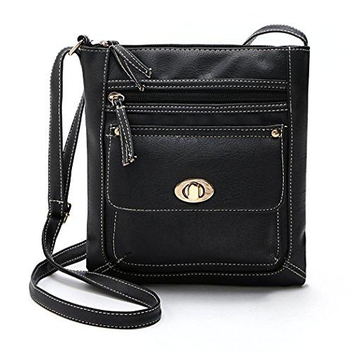 Tote Frauen - All4you Retro-kleine Handtasche Kreuz lässigen Schulter Bag(Black) (Kristall-kreuz-umhängetasche Handtasche)