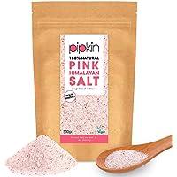 Pipkin 500 g Sal Rosa del Himalaya Natural, Tamaño 0.3-1mm, Alimento Gourmet Premium de Primera Calidad, Cristales de Sal Puros y Sin Refinar, Extraída a Mano