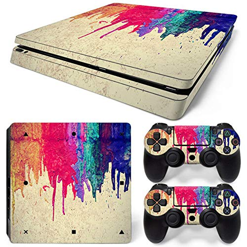 QPZYB PS4 Slim Sticker for Playstation 4 Slim Console + 2 Controller Skin Sticker for PS4 S Accessories
