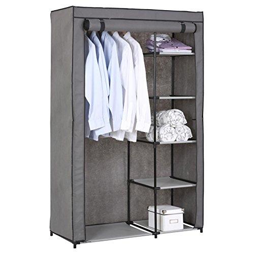 IDIMEX Stoffkleiderschrank Kellerregal Standregal Tanja, mit 5 Regalfächern und Kleiderstange, inkl. Schutzhülle in grau