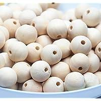 chengyida Natural color 200pcs 12mm pendientes de bola de madera, forma redonda cuentas de madera, madera manualidades, regalo