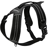 Da Jia Inc No-pull Hundegeschirr-3M Reflektierende Outdoor Adventure Pet Weste mit Griff Nylon Heavy Duty Sicherheitsgriff für Hund Training oder Walking Haustier Geschirr (Schwarz, L27.5-37.5in)