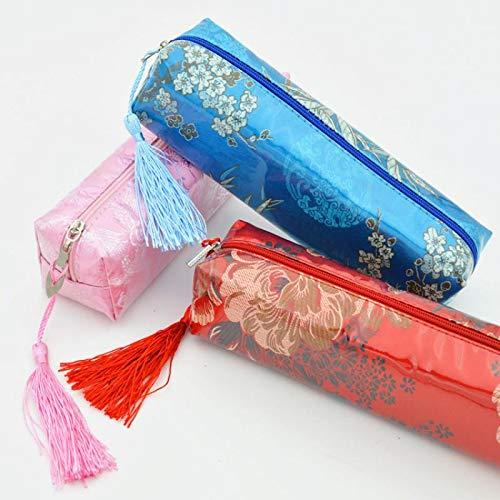 Wonque Federmäppchen im chinesischen Stil, Retro-Beutel, Reißverschluss, modisches Rollen, für Make-up, Kosmetik, Pinsel, Stifte, Stifte -