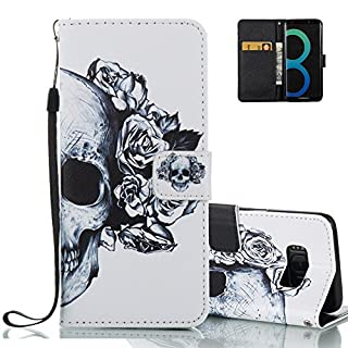 Aeeque Galaxy S8 Wallet Cover, Retro Skull Flowers Design and Ultra Thin PU Leather Book Style Flip Stand Function Holster for Samsung Galaxy S8 5.8