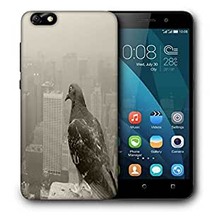 Snoogg Empire State Pigeon Printed Protective Phone Back Case Cover For Huawei Honor 4X