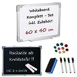 Whiteboard & Blackboard (Kreidetafel) • KOMPETTSET • inklusive Zubehör (60 cm x 40 cm)