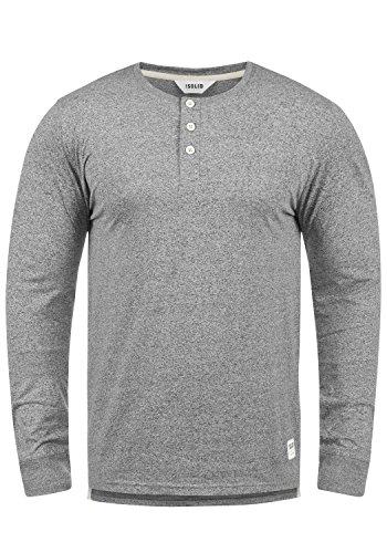 !Solid Espen Herren Longsleeve Langarm-Shirt mit Grandad-Ausschnitt aus 100% Baumwolle Meliert Slim Fit, Größe:L, Farbe:Grey Melange (8236)
