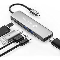 NOVOO USB C Hub 6 Port Aluminium USB C Adapter mit HDMI 4K, 2 USB 3.0, Type C PD 60W (20V,3A), SD/Micro SD Kartenleser Ports für Laptop MacBook Pro 2016/2017 Samsung Galaxy S8 Huawei Type C Geräte