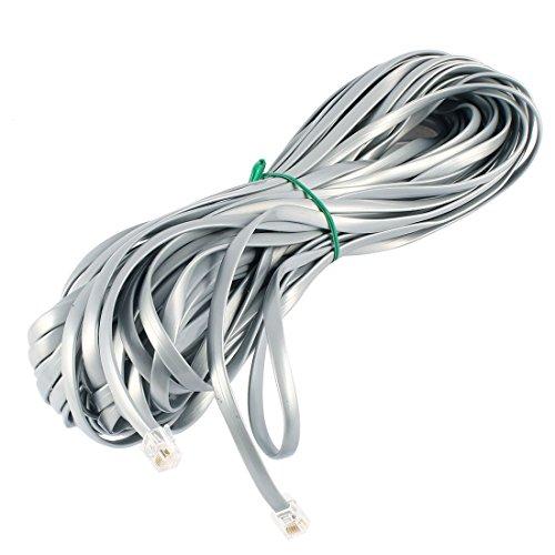 Sourcingmap 19,8 m RJ12 6P6 C Fiche mâle plat Ligne téléphonique câble cordon - Gris