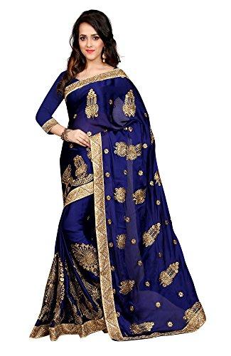 Sargam Fashion Chiffon Saree (Srssfbfblue3_Blue)