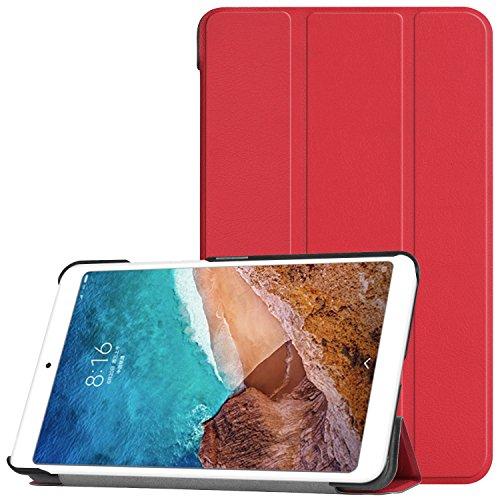 Cubierta de la caja 4 de IVSO Xiaomi Mi Pad, cubierta de la caja de cuero de la PU delgada elegante protectora para Xiaomi Mi 4 almohadilla de 7.9 tableta 2018 de la pulgada, rojo