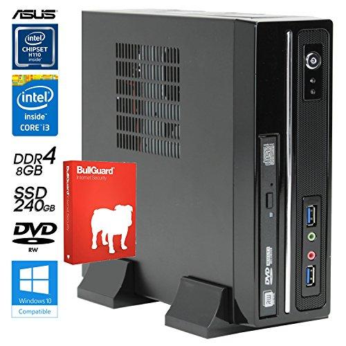 SNOGARD BasicLine lautloser Power PC | 7th gen. Intel® Core i3-7100T CPU 2x3400Mhz Kaby Lake, Intel HD 630 Grafik, 8GB DDR4 RAM, 240GB SSD + DVD±RW • Silent Home Business & Multimedia Center Desktop Computer