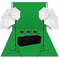 250W Kit Iluminación Continua - 3x6m Fondo Verde Tela no Tejido, 2.8x3m Sistema de Fondo, Paraguas Difusores, Bolsa de Transporte, Kit Estudio Fotografico Casero para Fotografía, Vidéo, Televisión