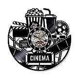 JUMP Vinyle Horloge Murale Cinéma Creative Creux Film Popcorn Rétro Style Personnalisé Art Déco Vinyle Record Horloge...