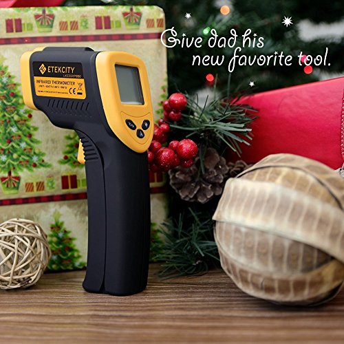 Etekcity Lasergrip 1080 Non-contact Digital Laser IR Infrared Thermometer Instant Read Temperature Gun, -50°C ~ 550°C ( -58°F~1022°F ), Rubber Paint Technology, Yellow/Black