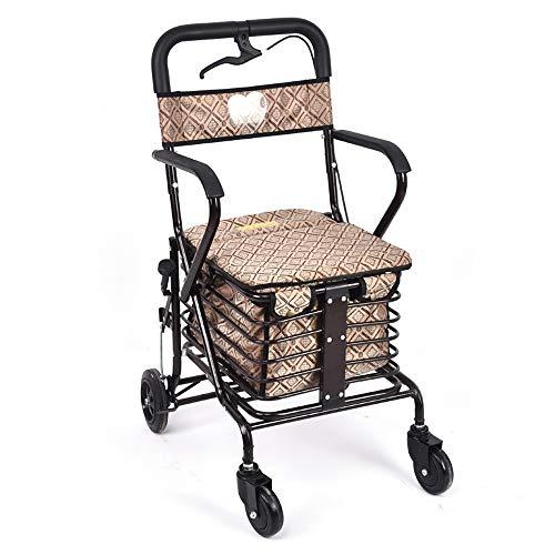 HALORI Old-Fashioned Trolley kann den Alten Chronographen Alten Mann schieben, um Lebensmittel Einkaufswagen Trolley zu kaufen (Farbe : Braun)