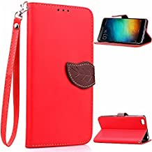 Xiaomi Mi Note Funda,+Free Gifts Multifunctional Data Line SongNi® TPU Leather Wallet Funda,Leaf shape Magnetic Closure,Card Slot,Wallet,Stand,Flip leather Funda for Xiaomi Mi Note-Red
