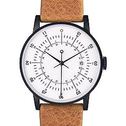"""squarestreet """"Plano"""" Edelstahl IP Matte Schwarz Swiss Quarz Datum Weiß Leder Braun Cognac Unisex Uhr"""