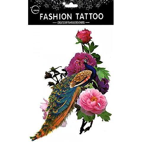 GGSELL GGSELL impermeable y no Tóxico temporal tatuajes gran diseño colorido pavo real con colorful Peony–temporal Tatuajes Mujer para el pecho, Ombligo, Espalda, Piernas,
