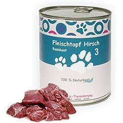 6 x 800 g - Wittis Fleischdosen für Hunde - garantiert OHNE künstliche Vitamine!!-Fleisch pur - Hirsch - pur - Barf in Dosen - Dosenfutter ohne Zusätze