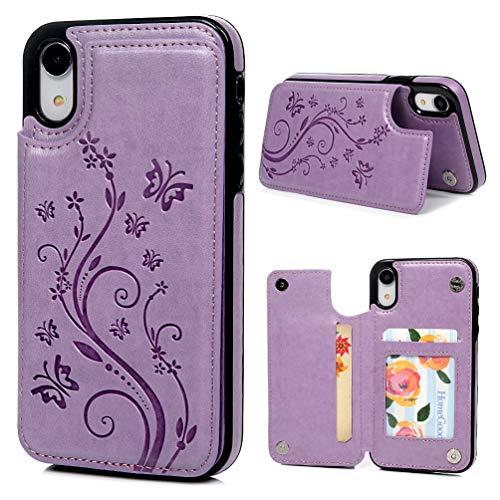 Promixc Handyhülle für iPhone XR Hülle, Premium PU Leder Wallet Case Schutzhülle Flip Kreditkarten Halter Brieftasche Handytasche mit Ständer Funktion und Magnetic Snap für iPhone XR - Lila Leder Snap Case
