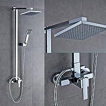 Auralum® Ducha Sin Agua grifo para baño y bañera con 20x 20cm Wellness de alcachofa, ducha de masaje de plástico, columna de ducha de acero inoxidable y 150cm de metal Manguera de ducha