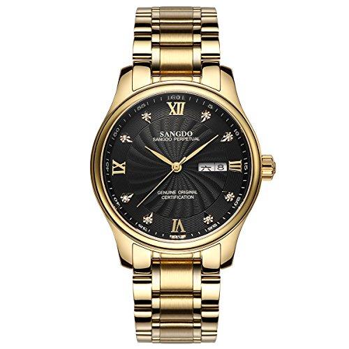 topwatch sangdo Herren Armbanduhr Echtes Mechanisches Automatik-Uhrwerk Goldband Doppel-Kalender Diamant-Markierungen fr Stunden schwarzes Zifferblatt