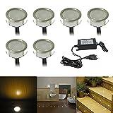 LED Bodenleuchten Außenbeleuchtung Ø30mm IP67 0.6W Warmes Weiß Wasserdichte 6er