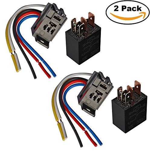 24 Volt 30 Amp (Ehdis 5 Pin Leitungen Kabel ReIaissockel Harness Stecker 24VDC 30A SPDT Multi-Purpose Heavy Duty Standard-Relay-Kits für Auto, 2 Packung)