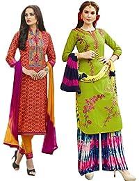 Set of 2 Thankar Crepe Dress Material (TDM141-5945.5941_Orange.Parrot)