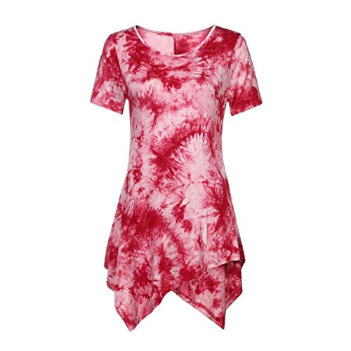 VEMOW Neue Design Sommer Frauen Damen Casual T-Shirt Oansatz Bluse Ptinted Kurzarm Unregelmäßige Tops Plus Größe (EU-50/CN-3XL, Rot) (Bowling T-shirt-designs)