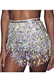 Damen Mini Rock Glänzt Tassel Paillettes Pailletten Party Tanzen Sommer Silver One Size