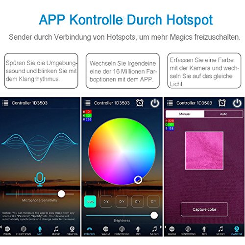 Opard RGB Led Streifen Controller,Wifi/App gesteuert,Dimmer Ausgang 3 Kanäle Arbeiten für Android/IOS System 5V-28V 16 Millionen Farben,20 Dynamische Modi,Sound Aktiviert