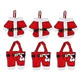 Da.Wa 6pcs Weihnachten Santa Dekoration Anzug Hosen Besteck Taschen Besteck Gabel Löffel Halter