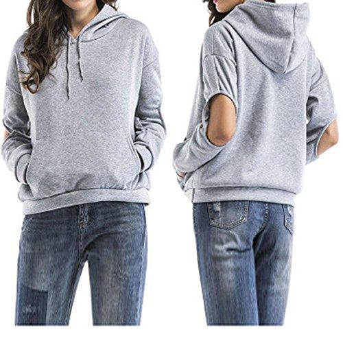 Preisvergleich Produktbild YOUBan Damen Sweatshirt Frauen Langarm mit Kapuze Aushöhlen Hoodie Bluse Mädchen Solides Sweatshirt Tops Kapuzenjacke