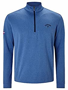 Callaway Golf 2017 Mens 1/4 Zip Stretch Thermal Waffle Pullover Bright Cobalt Small