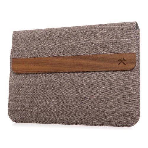 """Woodcessories EcoPouch - Macbook Tasche - Premium Design Hülle, Notebooktasche, Laptoptasche m. echtem Walnuss Holz (MacBook 15""""/Grau-braun)"""